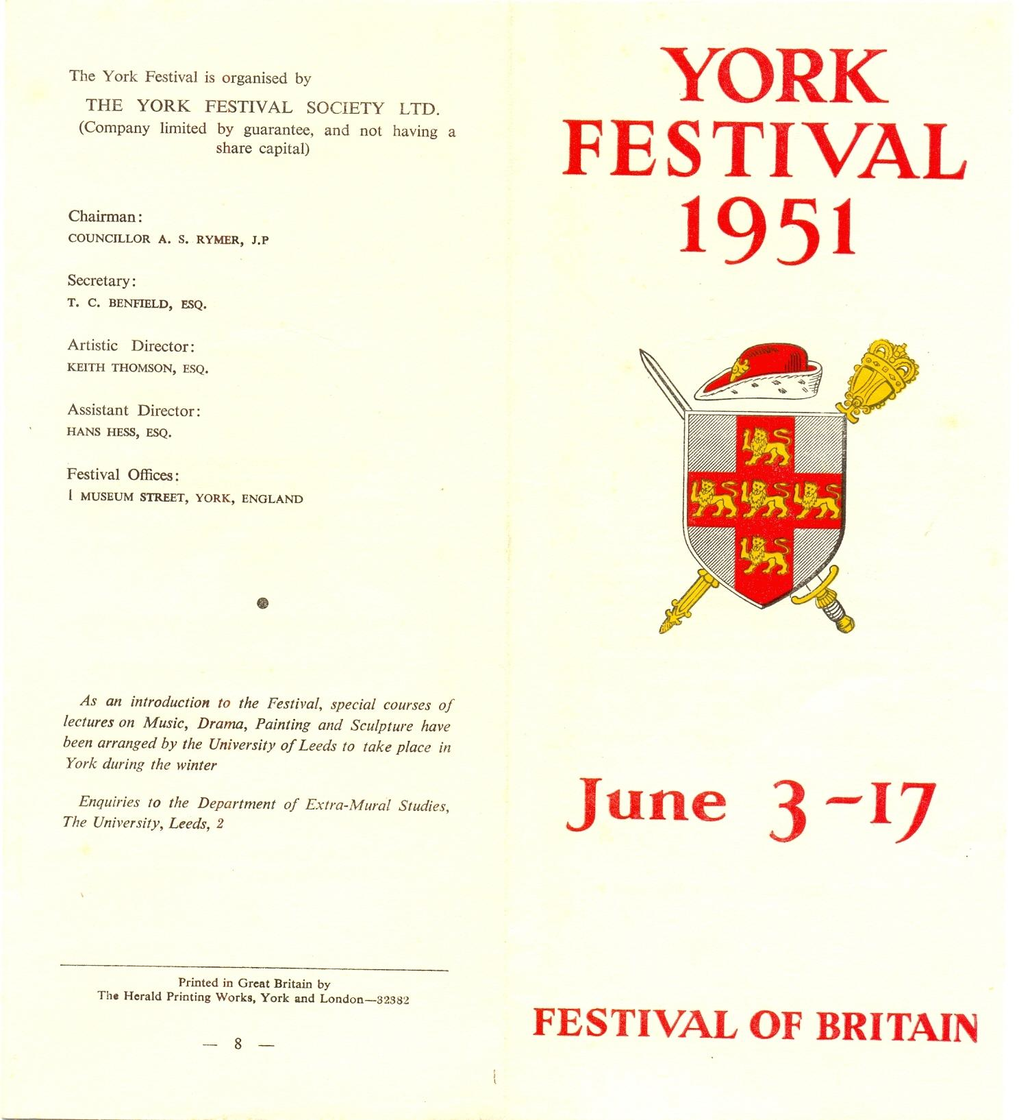 1950 Festival Advance Leaflet
