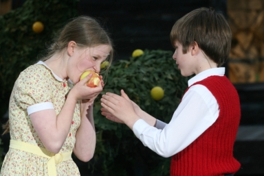Eve and Adam biting apple