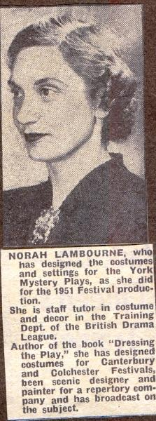 Norah Lambourne 1954 cutting
